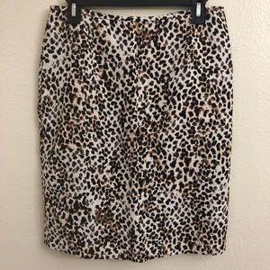 Calvin Klein Leopard Print Linen Skirt Size 6